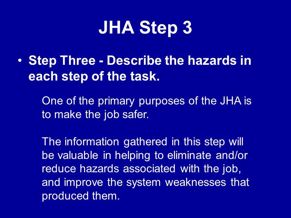 JHA Step 2 Step Two - Break the job down into steps Step 1 Step 2 Step 3 Step 4