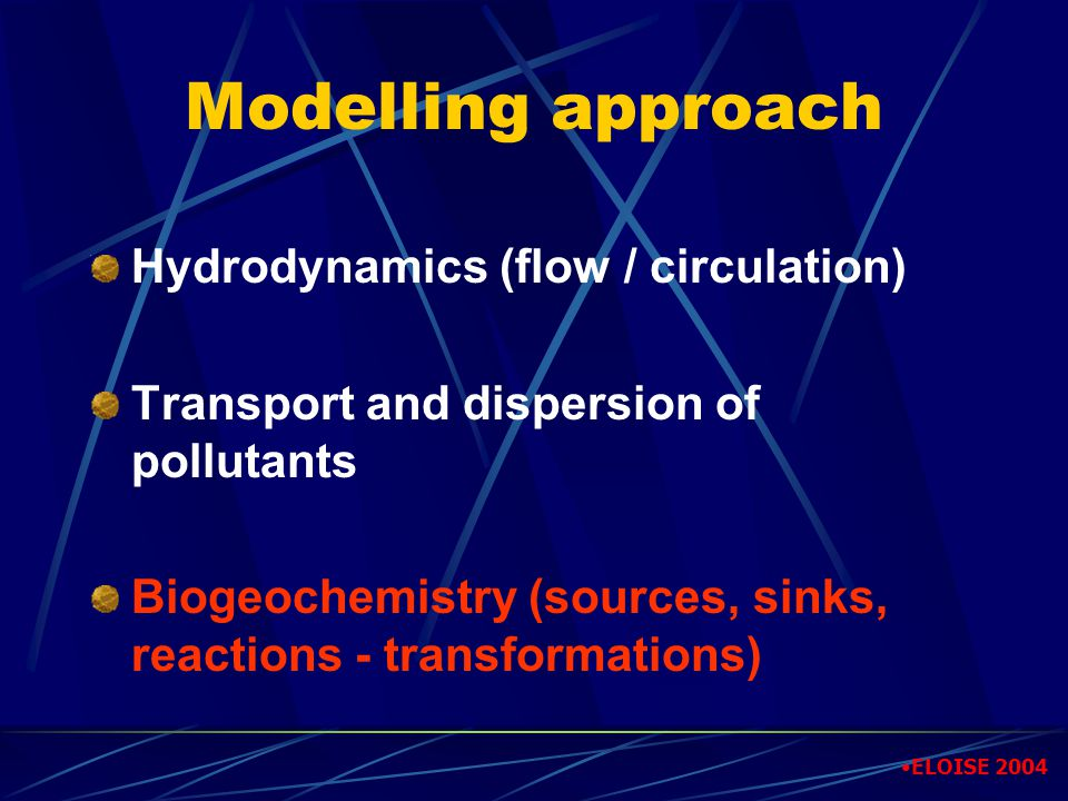 Modelling approach Hydrodynamics (flow / circulation) Transport and dispersion of pollutants Biogeochemistry (sources, sinks, reactions - transformati