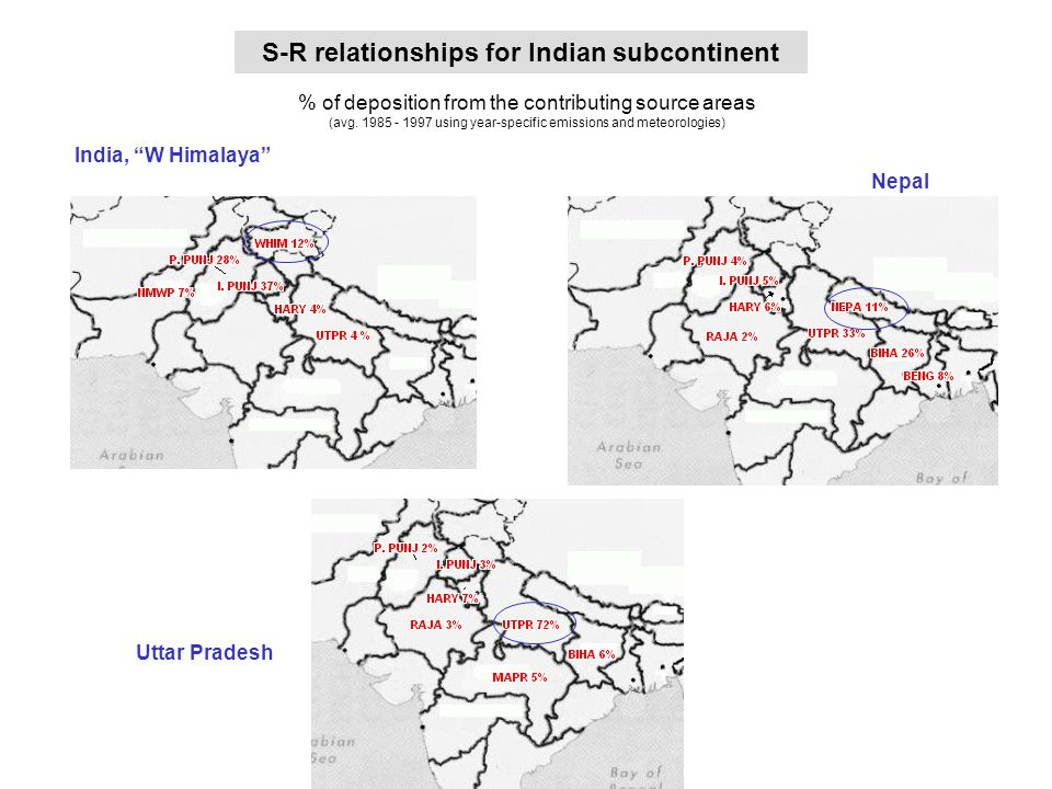 maps of S-R rel for Indian subcontinent (1) S-R relationships for Indian subcontinent % of deposition from the contributing source areas (avg.