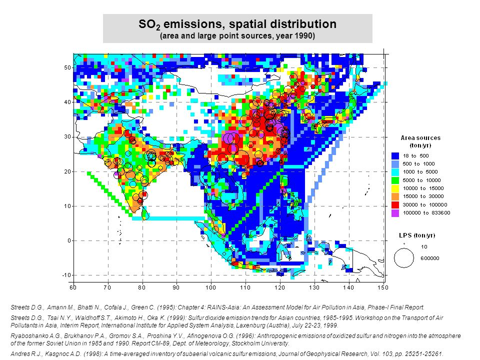 SO2 emi spatial distrib SO 2 emissions, spatial distribution (area and large point sources, year 1990) Streets D.G., Amann M., Bhatti N., Cofala J., G