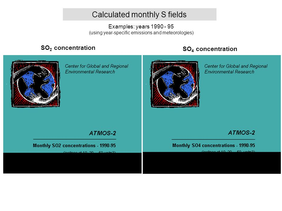 Monthly SOx fields Calculated monthly S fields Examples: years 1990 - 95 (using year-specific emissions and meteorologies) SO 2 concentration SO 4 concentration