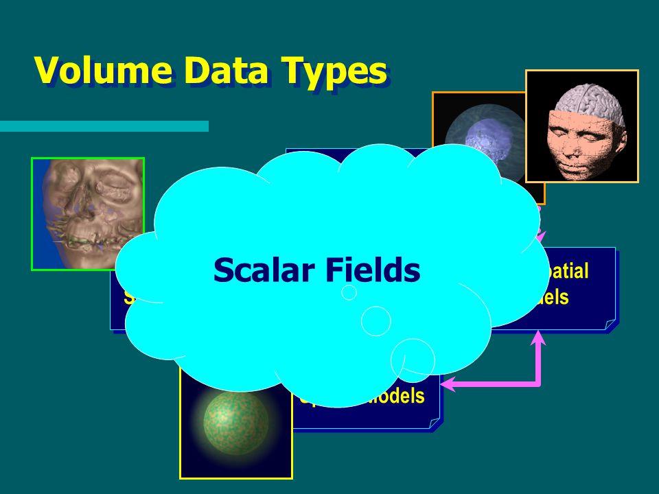 Volume Data Types High-Level Models Non-Spatial Models Discrete Spatial Models Continuous Spatial Models Scalar Fields