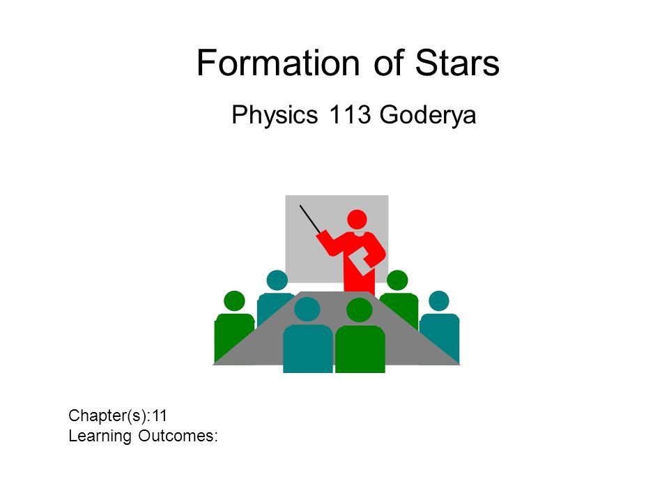 Formation of Stars Physics 113 Goderya Chapter(s):11 Learning Outcomes: