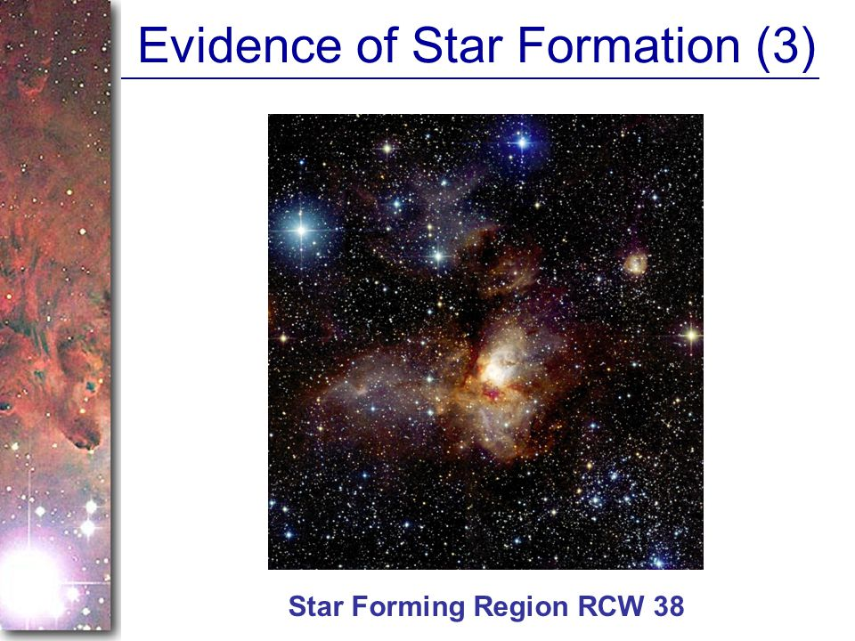 Evidence of Star Formation (3) Star Forming Region RCW 38