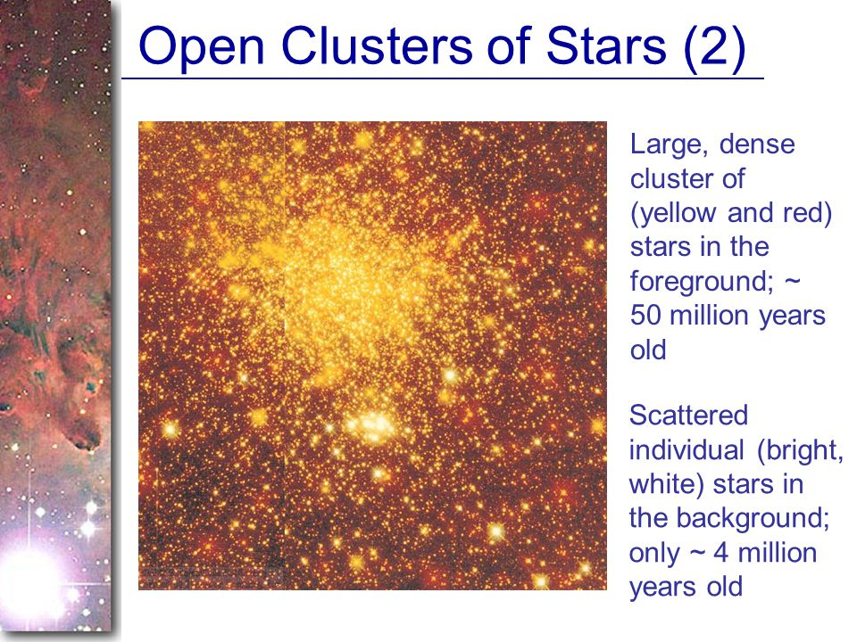 Open Clusters of Stars (2) Large, dense cluster of (yellow and red) stars in the foreground; ~ 50 million years old Scattered individual (bright, white) stars in the background; only ~ 4 million years old
