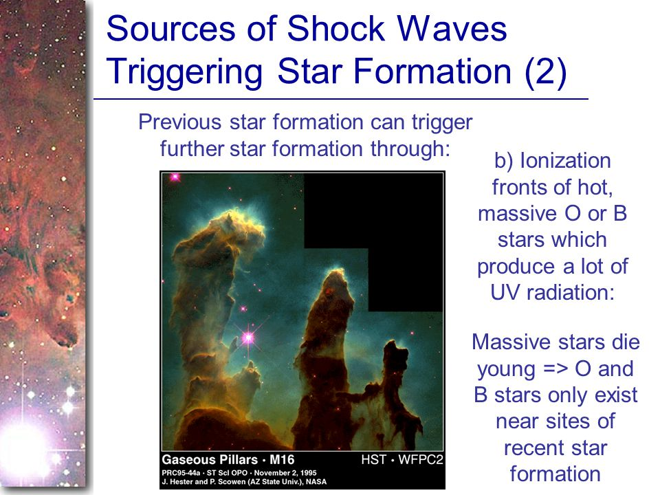 Sources of Shock Waves Triggering Star Formation (2) Previous star formation can trigger further star formation through: b) Ionization fronts of hot, massive O or B stars which produce a lot of UV radiation: Massive stars die young => O and B stars only exist near sites of recent star formation