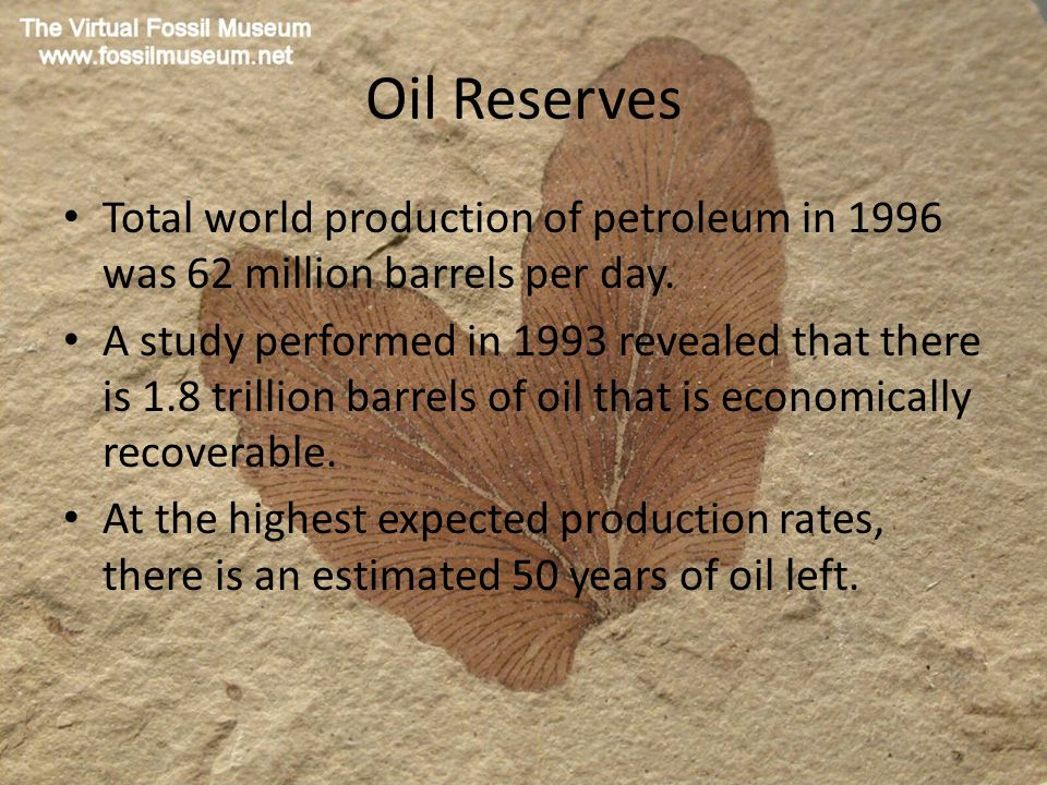 Oil Reserves Total world production of petroleum in 1996 was 62 million barrels per day.
