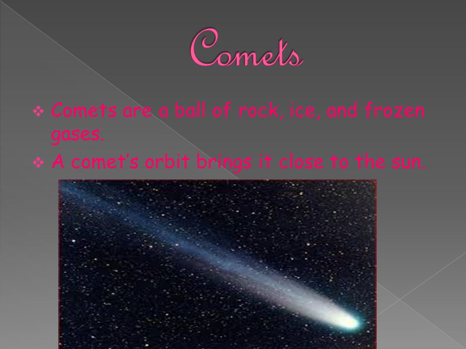  Comets are a ball of rock, ice, and frozen gases.  A comet's orbit brings it close to the sun.
