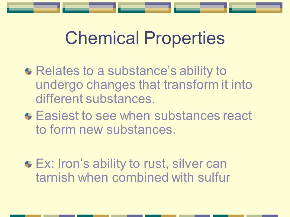 Chemical Change Also known as a chemical reaction A change in which one or more substances are converted into different substances.