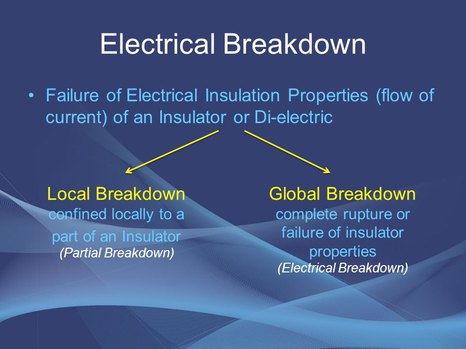 Electrical Breakdown Failure of Electrical Insulation Properties (flow of current) of an Insulator or Di-electric Local Breakdown confined locally to