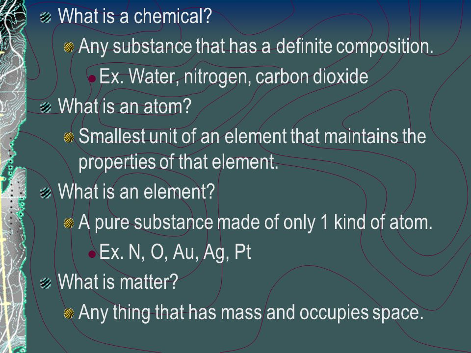 4. Physical chemistry – the study of the properties, transformations, and interrelationships of energy and matter. 5. Analytical chemistry – the ident