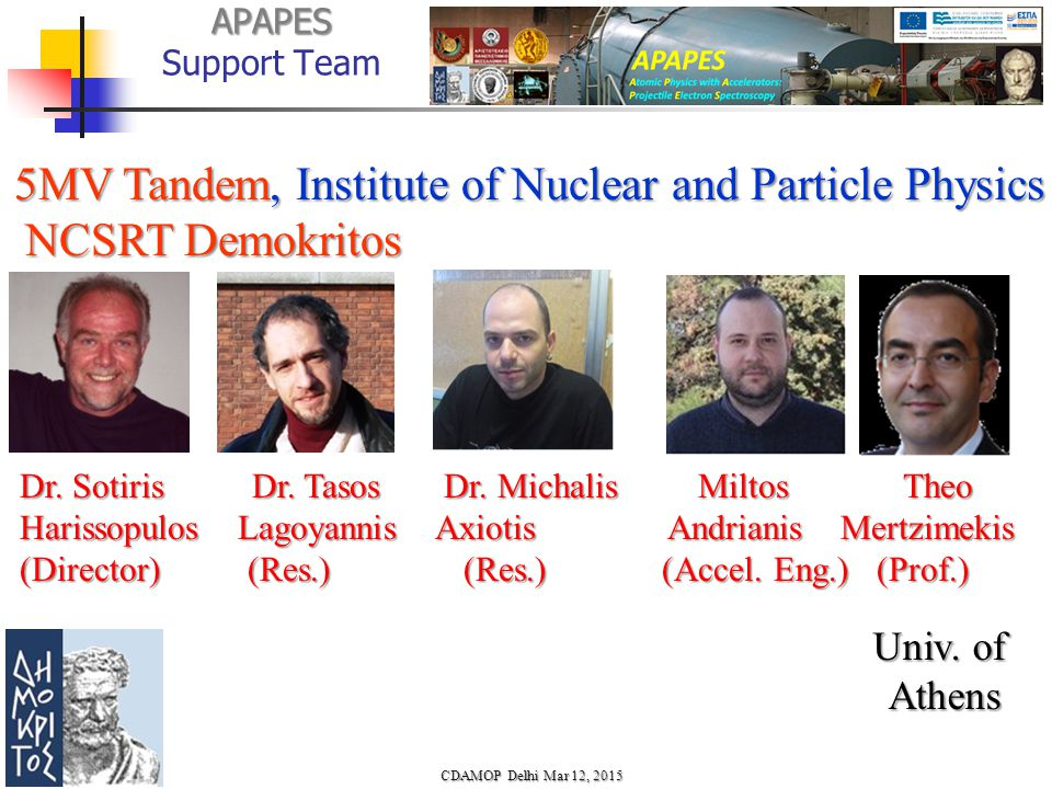 APAPES APAPES Support Team 5MV Tandem, Institute of Nuclear and Particle Physics 5MV Tandem, Institute of Nuclear and Particle Physics NCSRT Demokritos NCSRT Demokritos Dr.