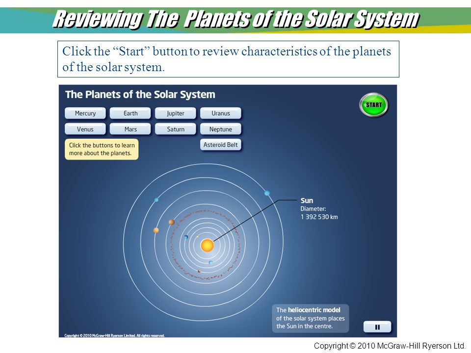 "Copyright © 2010 McGraw-Hill Ryerson Ltd. Reviewing The Planets of the Solar System Click the ""Start"" button to review characteristics of the planets"