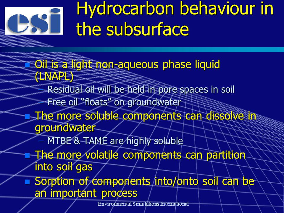 Environmental Simulations International Hydrocarbon behaviour in the subsurface n Oil is a light non-aqueous phase liquid (LNAPL) –Residual oil will b