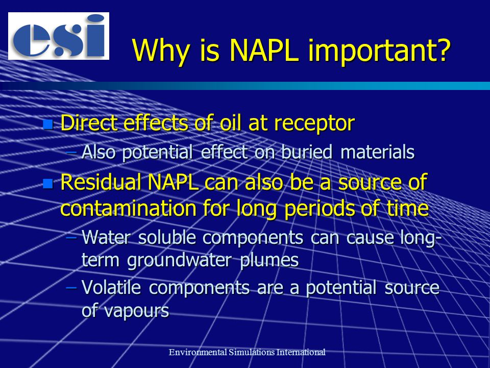 Environmental Simulations International Why is NAPL important? n Direct effects of oil at receptor –Also potential effect on buried materials n Residu