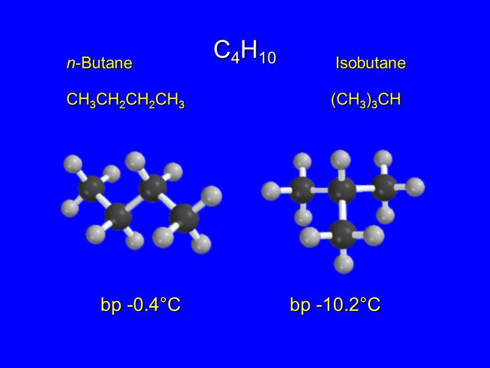 n-Butane Isobutane CH 3 CH 2 CH 2 CH 3 (CH 3 ) 3 CH bp -0.4°C bp -10.2°C C 4 H 10