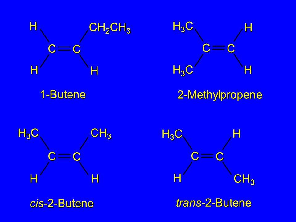 2-Methylpropene 1-Butene cis-2-Butene trans-2-Butene C CHH H CH 2 CH 3 H3CH3CH3CH3C C C CH 3 HH H C C H3CH3CH3CH3CH C C H H H3CH3CH3CH3C H3CH3CH3CH3C