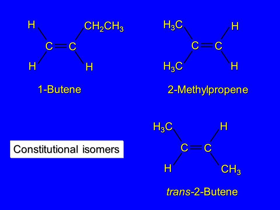 2-Methylpropene 1-Butene trans-2-Butene C CHH H CH 2 CH 3 H3CH3CH3CH3C C C CH 3 HH C C H H H3CH3CH3CH3C H3CH3CH3CH3C Constitutional isomers
