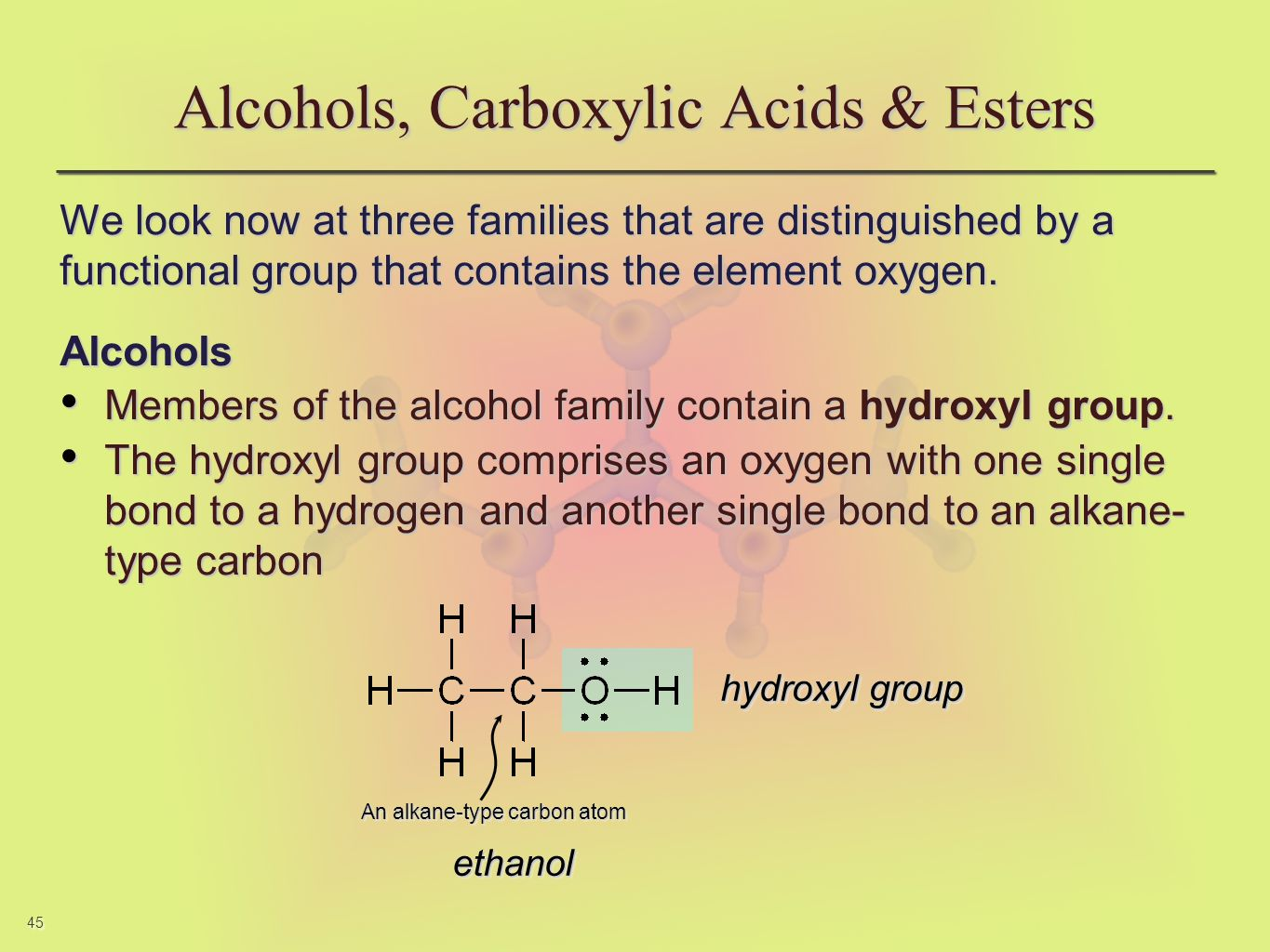 45 We look now at three families that are distinguished by a functional group that contains the element oxygen. Alcohols Members of the alcohol family