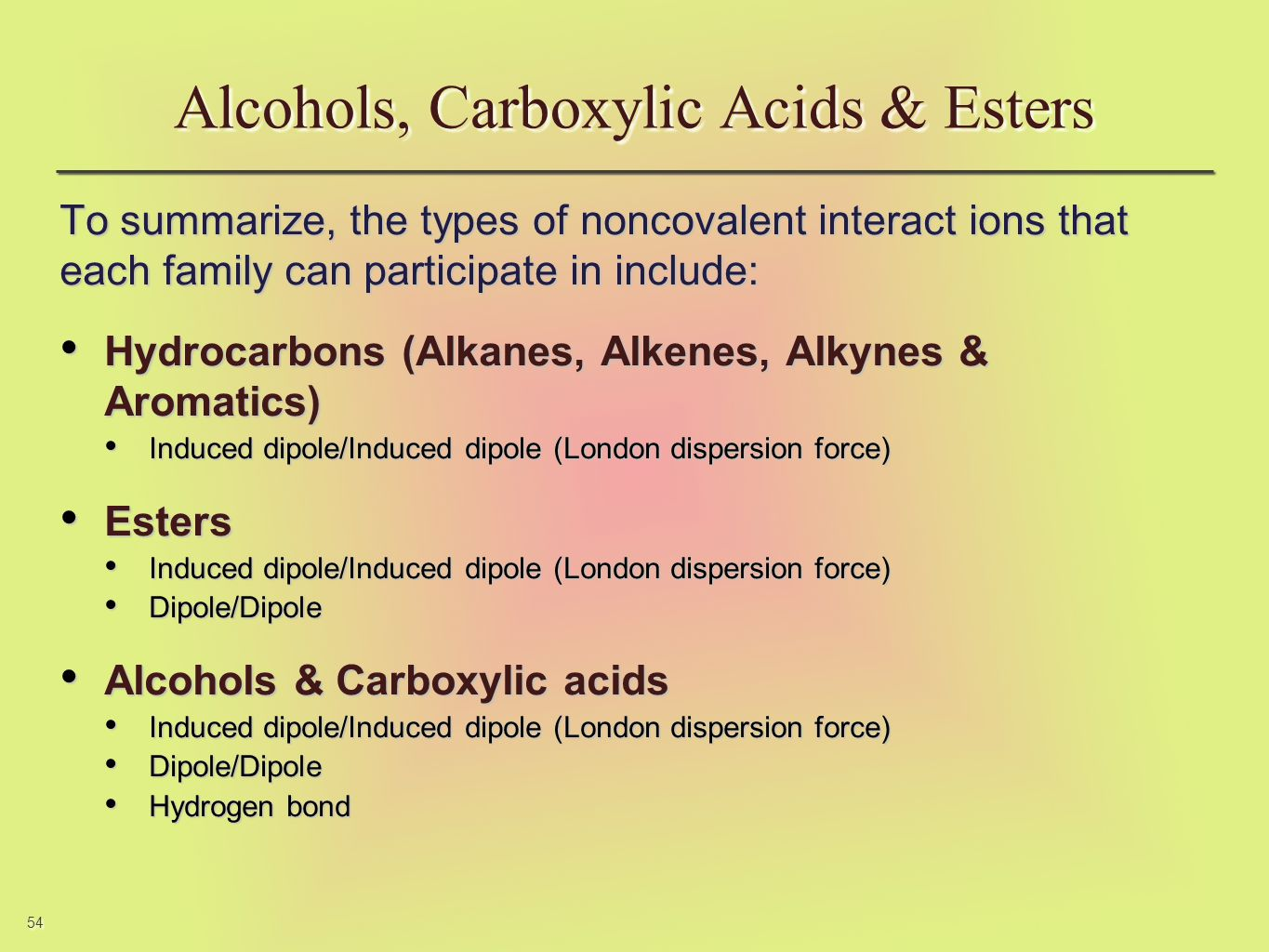 54 To summarize, the types of noncovalent interact ions that each family can participate in include: Hydrocarbons (Alkanes, Alkenes, Alkynes & Aromati