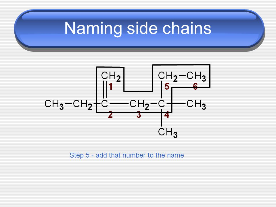 Naming side chains Step 4 - number the longest chain with the lowest number closest to the double bond
