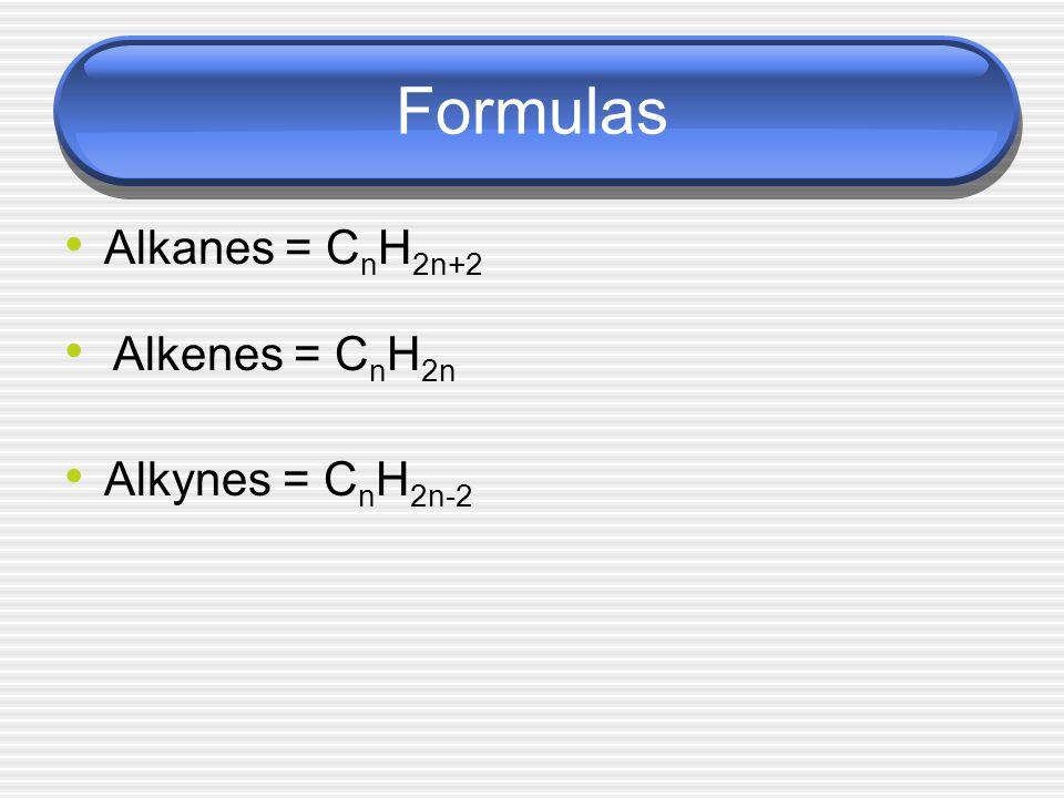 Formulas Alkanes = C n H 2n+2 Alkenes = C n H 2n Alkynes = C n H 2n-2