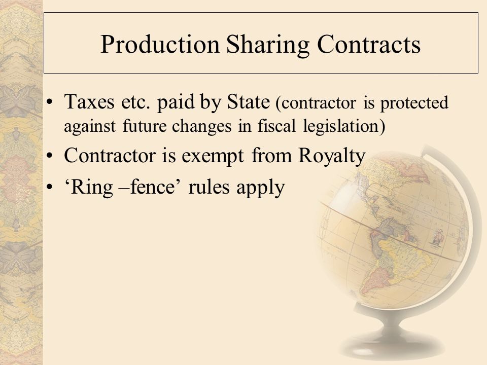 Production Sharing Contracts Taxes etc.