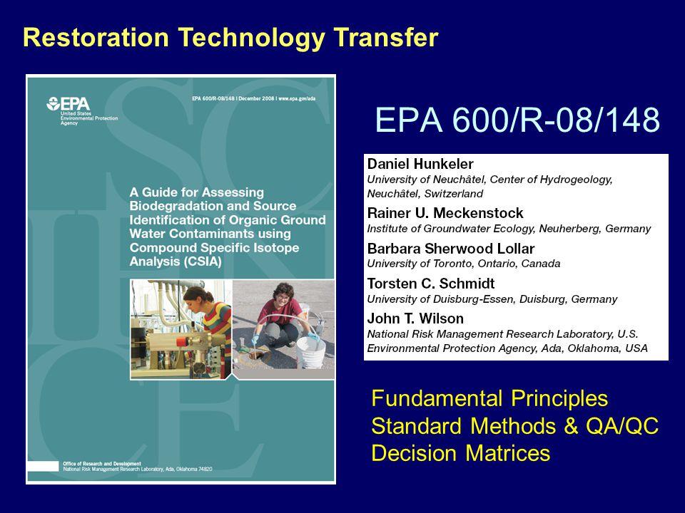 EPA 600/R-08/148 Restoration Technology Transfer Fundamental Principles Standard Methods & QA/QC Decision Matrices