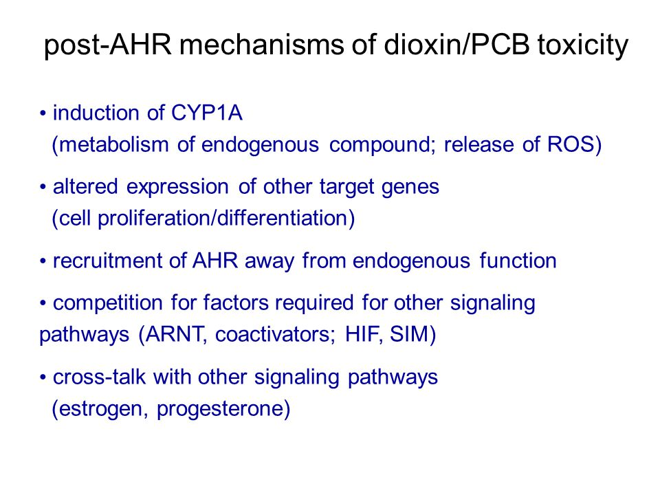 post-AHR mechanisms of dioxin/PCB toxicity induction of CYP1A (metabolism of endogenous compound; release of ROS) altered expression of other target genes (cell proliferation/differentiation) recruitment of AHR away from endogenous function competition for factors required for other signaling pathways (ARNT, coactivators; HIF, SIM) cross-talk with other signaling pathways (estrogen, progesterone)