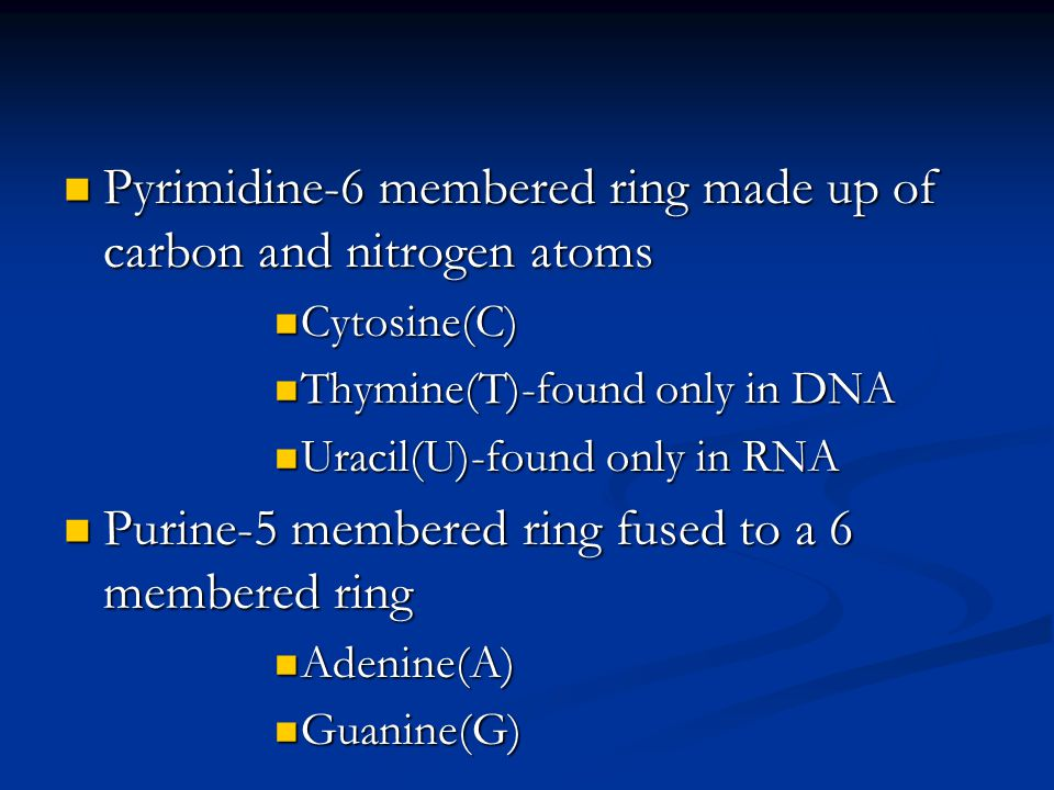 Pyrimidine-6 membered ring made up of carbon and nitrogen atoms Pyrimidine-6 membered ring made up of carbon and nitrogen atoms Cytosine(C) Cytosine(C