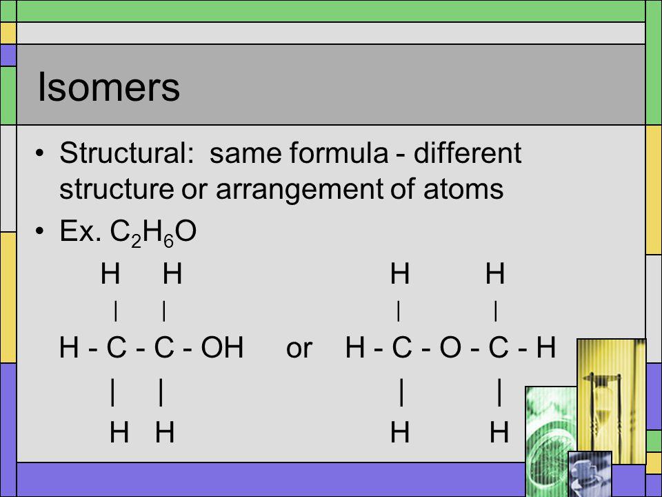 Isomers Geometric: same formula - different spatial arrangement around double bond Ex.