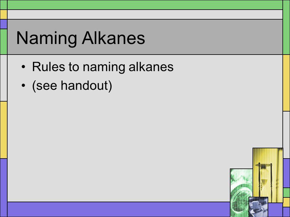 Naming Alkanes Rules to naming alkanes (see handout)