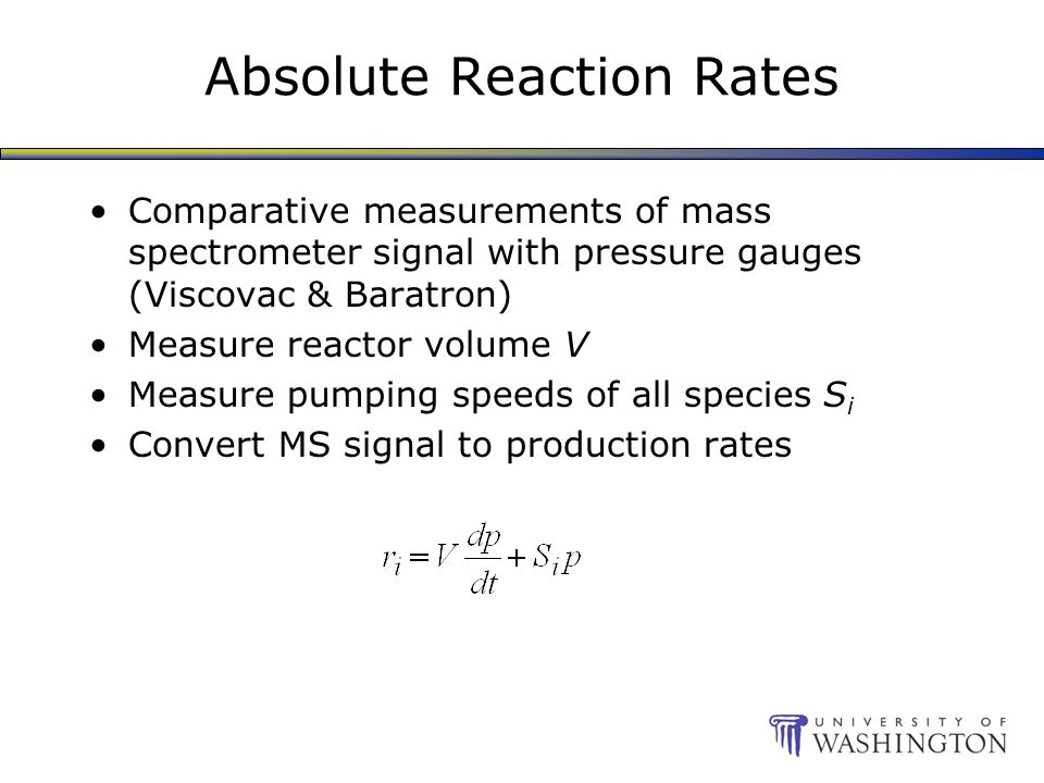 Absolute Reaction Rates Comparative measurements of mass spectrometer signal with pressure gauges (Viscovac & Baratron) Measure reactor volume V Measure pumping speeds of all species S i Convert MS signal to production rates