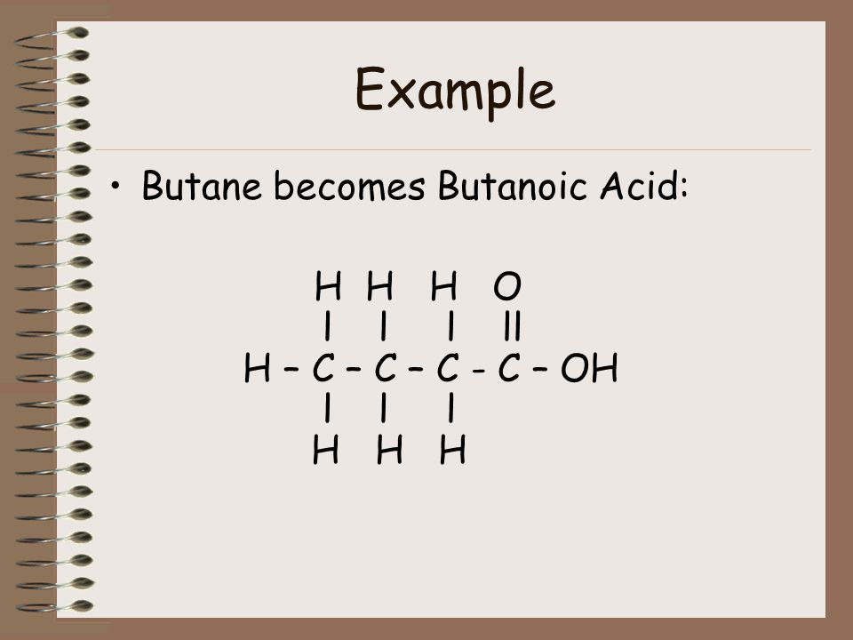 Naming Organic Acids: ends in oic acid . First, name the alkane, drop the e, and add oic acid.