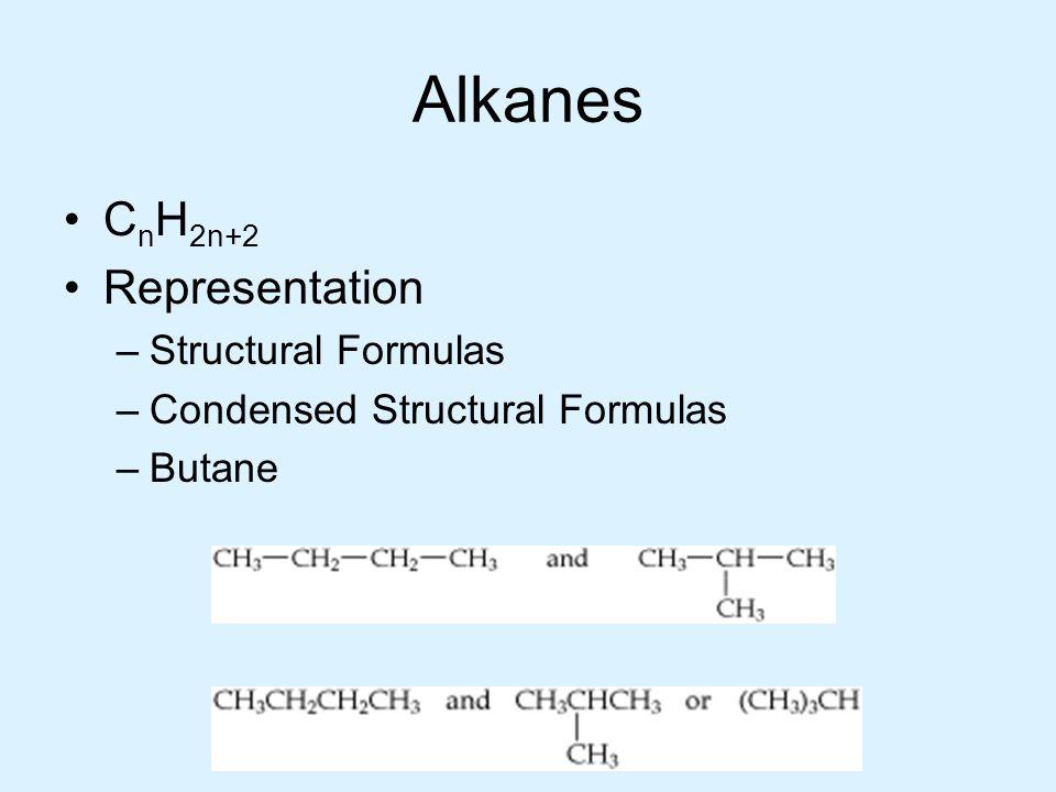 Alkanes C n H 2n+2 Representation –Structural Formulas –Condensed Structural Formulas –Butane
