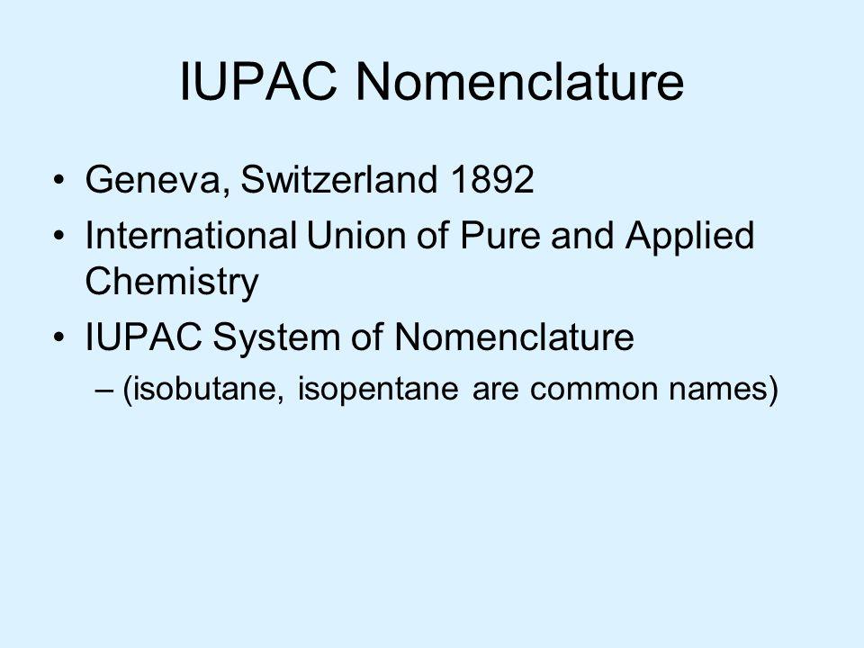 IUPAC Nomenclature Geneva, Switzerland 1892 International Union of Pure and Applied Chemistry IUPAC System of Nomenclature –(isobutane, isopentane are