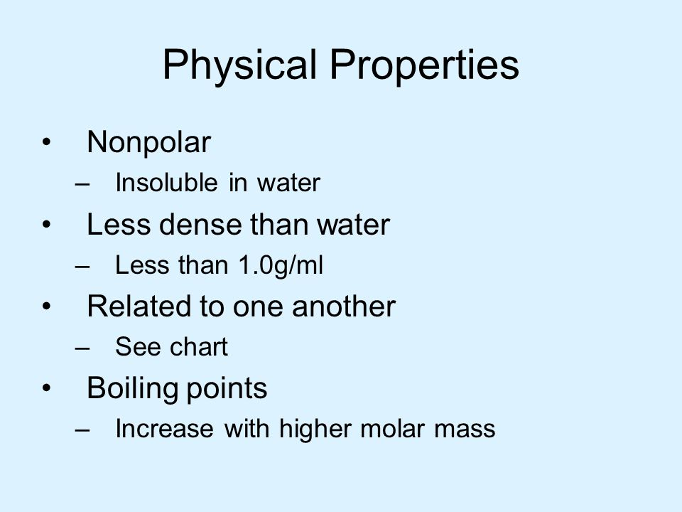 Physical Properties Nonpolar –Insoluble in water Less dense than water –Less than 1.0g/ml Related to one another –See chart Boiling points –Increase w