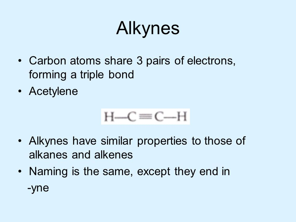 Alkynes Carbon atoms share 3 pairs of electrons, forming a triple bond Acetylene Alkynes have similar properties to those of alkanes and alkenes Namin