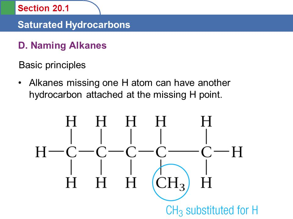Section 20.1 Saturated Hydrocarbons D.