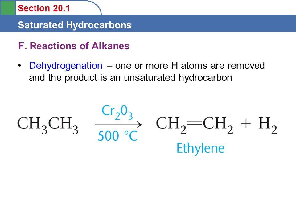 Section 20.1 Saturated Hydrocarbons F.
