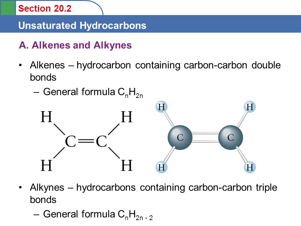 Section 20.2 Unsaturated Hydrocarbons A.
