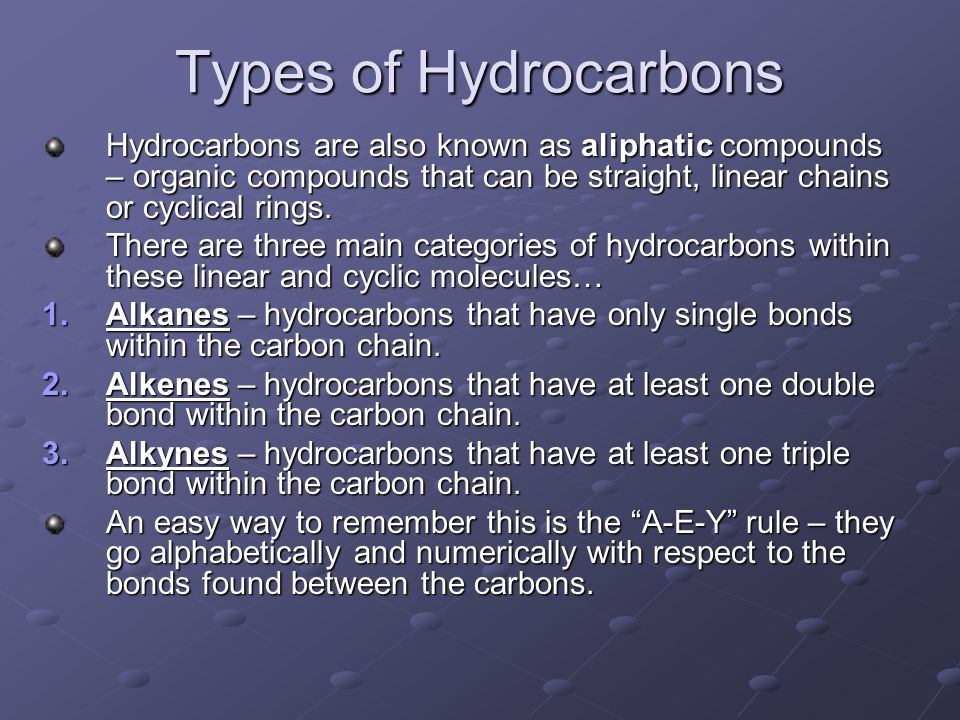 Types of Hydrocarbons Hydrocarbons are also known as aliphatic compounds – organic compounds that can be straight, linear chains or cyclical rings. Th