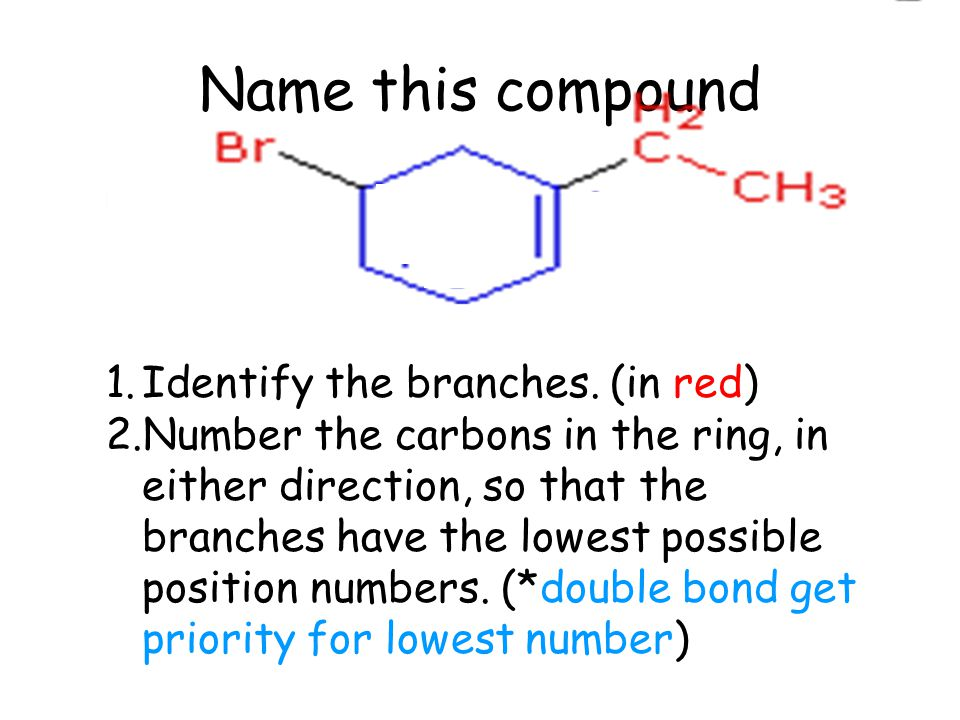Name this compound 1.Identify the branches.