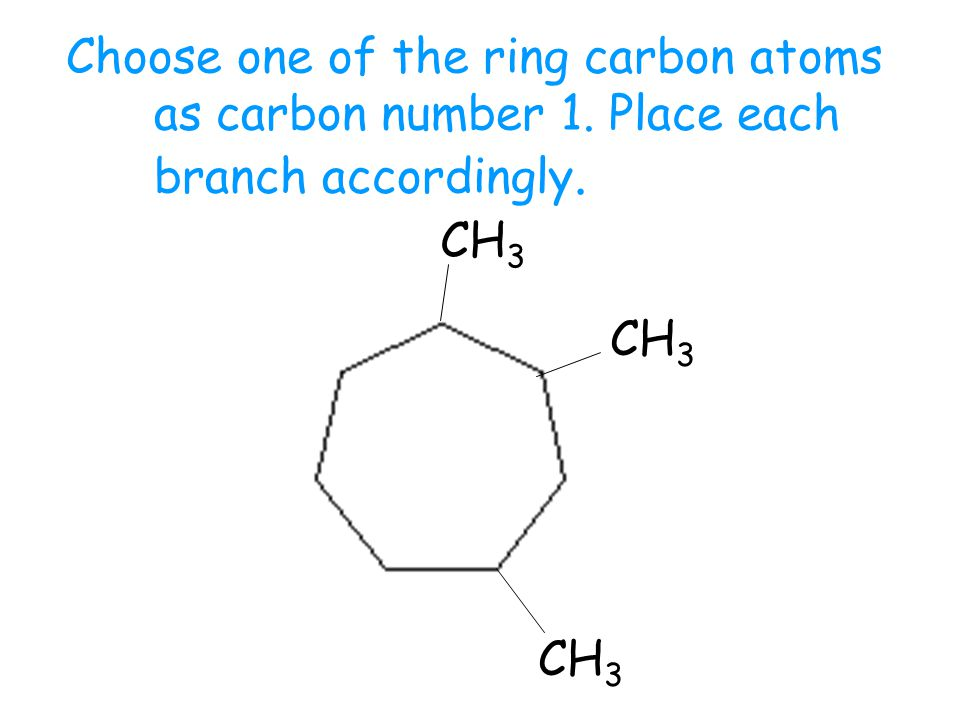 Choose one of the ring carbon atoms as carbon number 1. Place each branch accordingly. CH 3