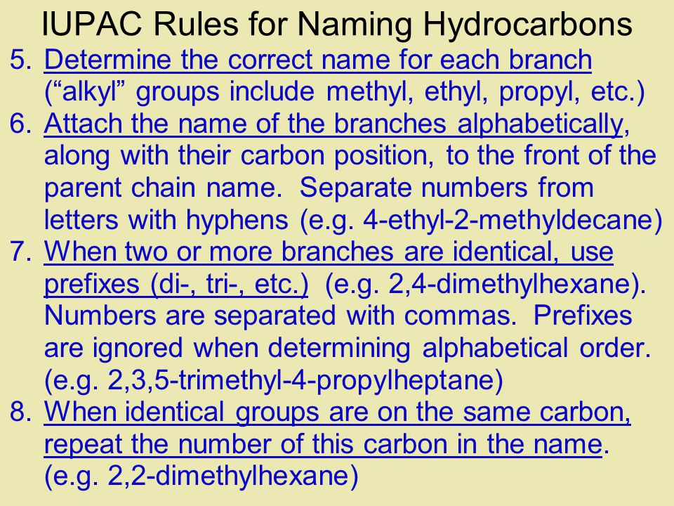 IUPAC Rules for Naming Hydrocarbons 1.Choose the correct ending: -ane, -ene, or -yne 2.Determine the longest carbon chain.