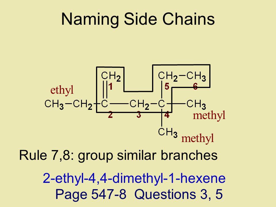 Rule 7,8: group similar branches 1-hexene2-ethyl-4-methyl-4-methyl-1-hexene ethyl methyl Naming Side Chains