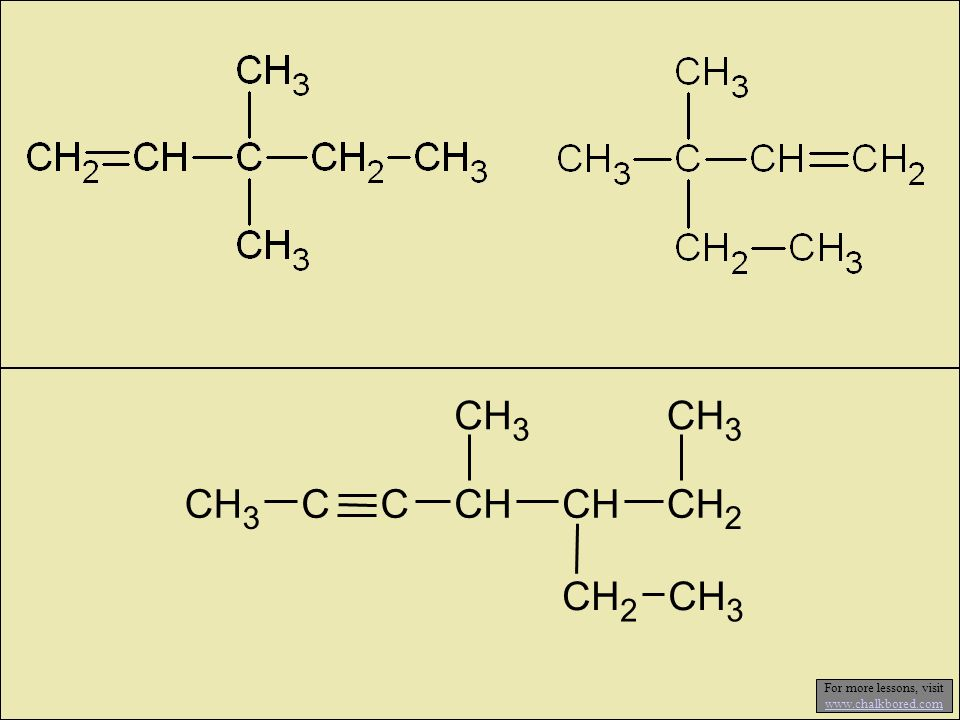 2-butene propene 1-butyne 2,4-dimethyl-2-pentene