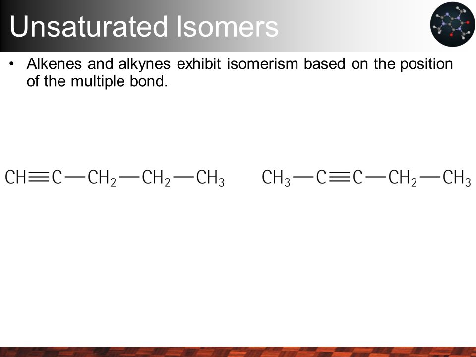 Unsaturated Isomers Alkenes and alkynes exhibit isomerism based on the position of the multiple bond.