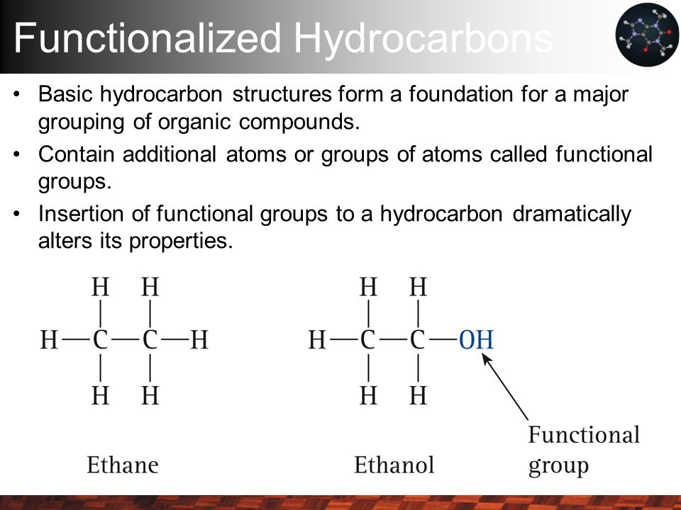 Functionalized Hydrocarbons Basic hydrocarbon structures form a foundation for a major grouping of organic compounds.