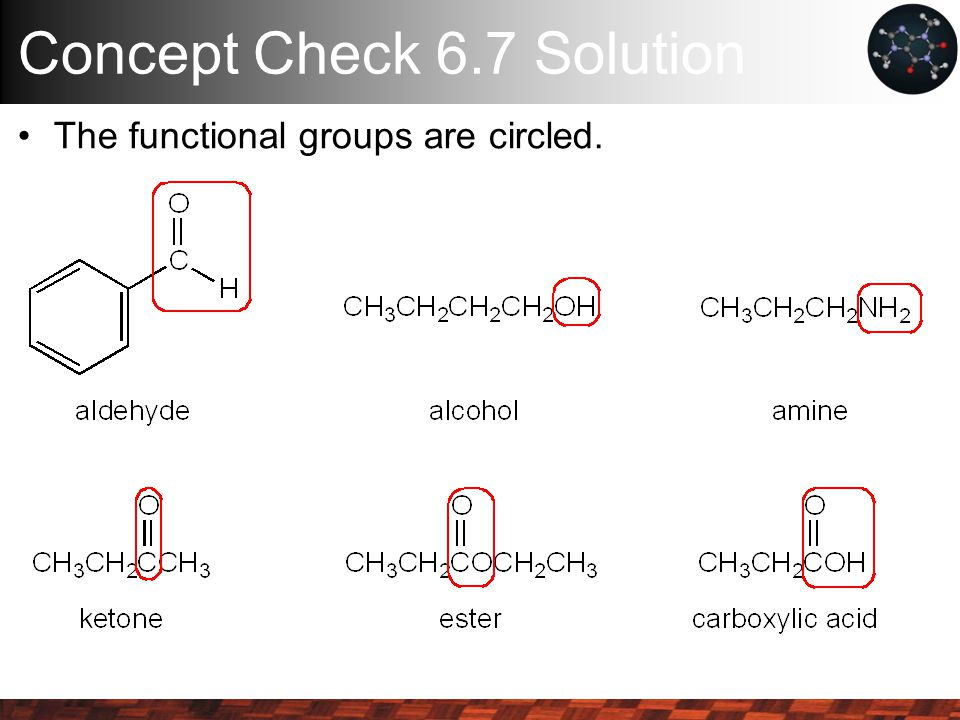 Concept Check 6.7 Solution The functional groups are circled.